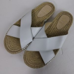 Pima 2 White Leather Espadrille Sandals. Size 9